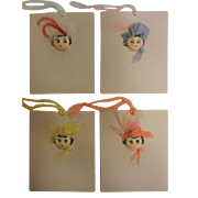 Vintage Painted and Button decorated  Set of Four Hand Crafted Gift Tags
