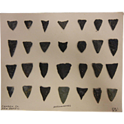 Collection of 28 Black Slate & Flint Arrowheads From Camden County, NJ