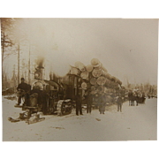 Vintage Original B&W Photograph of Steam Hauler at Gibson's Camp