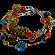 Fine Gold-Tone & Multi-Colored Glass Bead Necklace