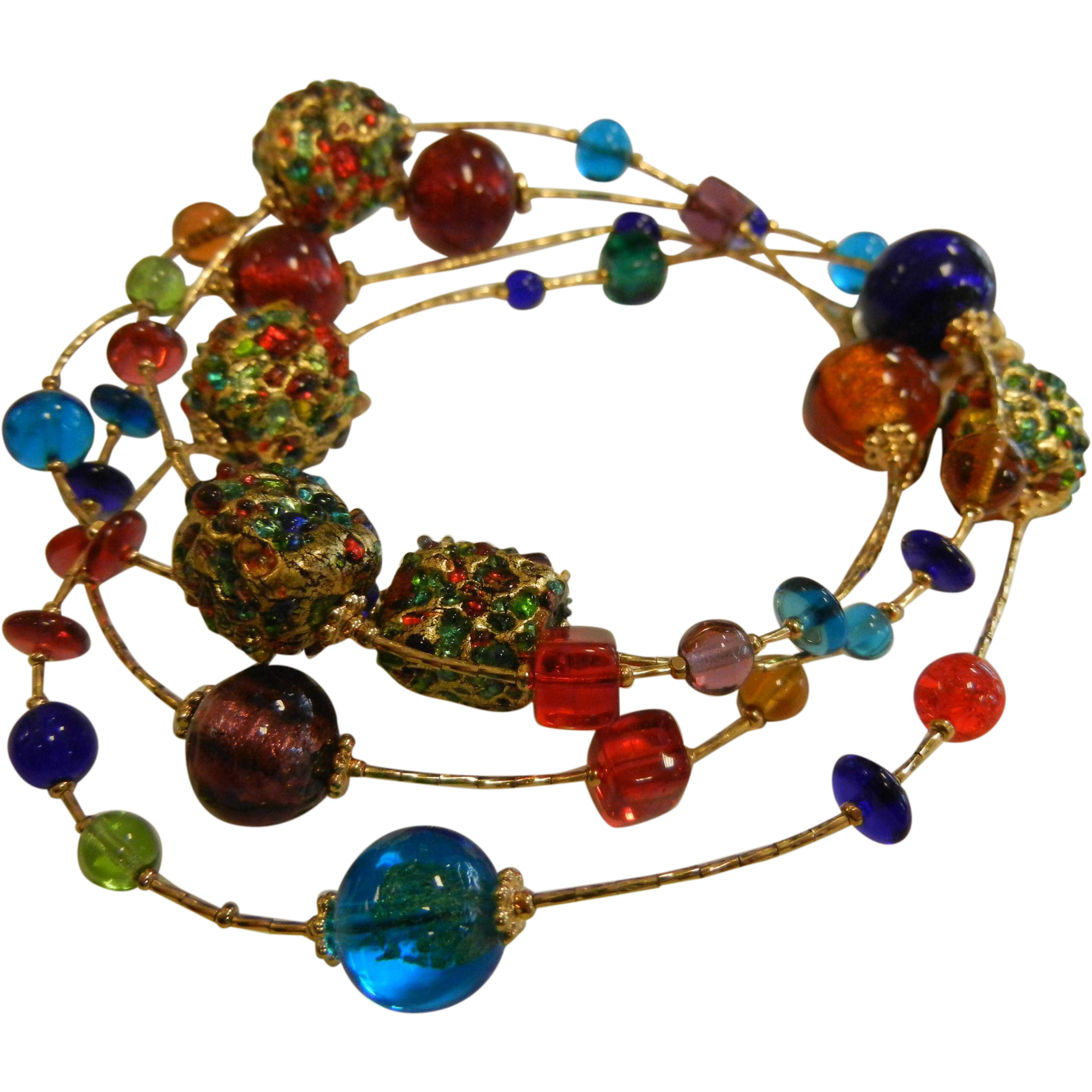 Fine Gold-Tone & Multi-Colored Glass Bead Necklace