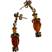 Vintage Sterling Silver & Amber Earrings