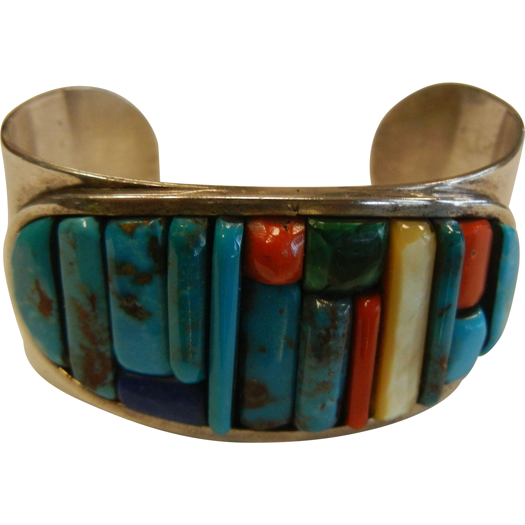 Exquisite Native American Sterling Silver Cuff Bracelet w/ Polished Natural Stones