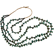 Vintage Native American Hand Crafted Turquoise Nugget Bead Necklace
