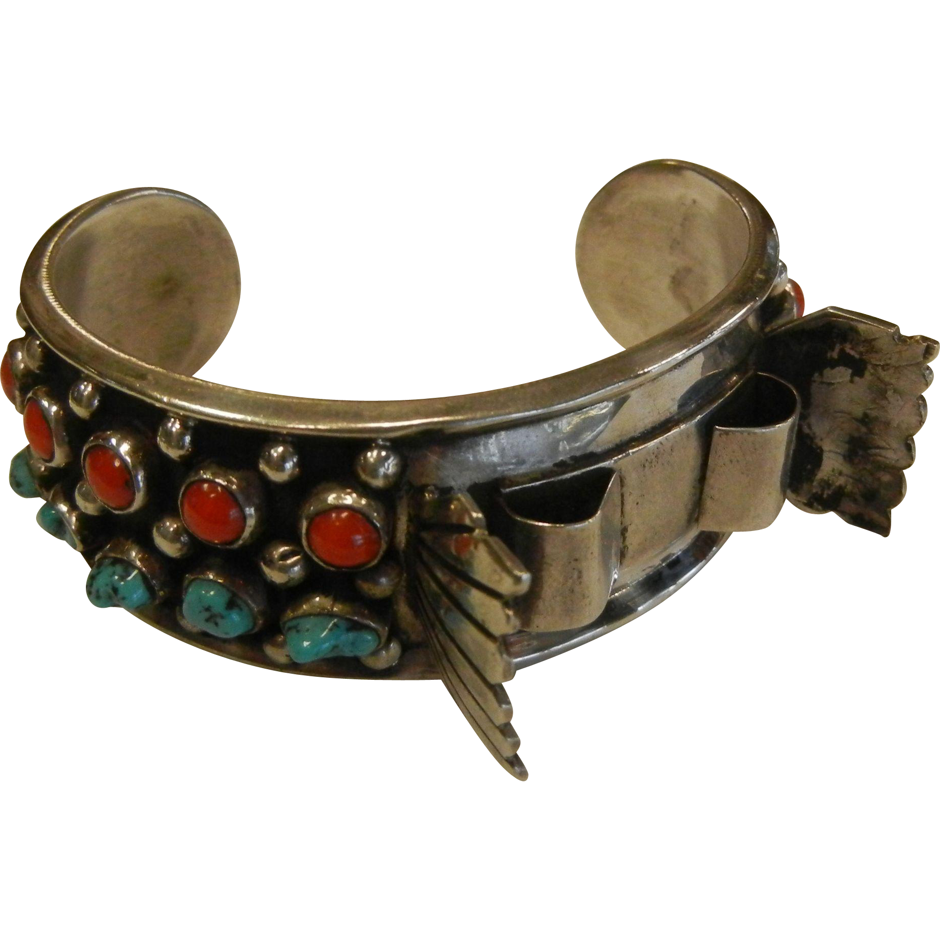 Fine Vintage Sterling Silver Cuff Bracelet w/ Natural Turquoise & Coral - Signed FG