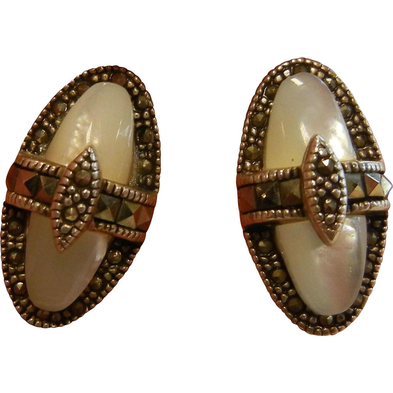 Fine Marcasite & Mother of Pearl Sterling Silver Earrings