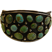Fabulous Vintage Sterling Silver Cuff Bracelet w/ Natural Turquoise Cabochons