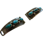 Vintage Native American Turquoise Adorned Sterling Silver Watch Ends