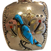 Native American Signed H. Spencer Natural Stone Inlaid Bird Design Sterling Silver Cuff Watch Bracelet