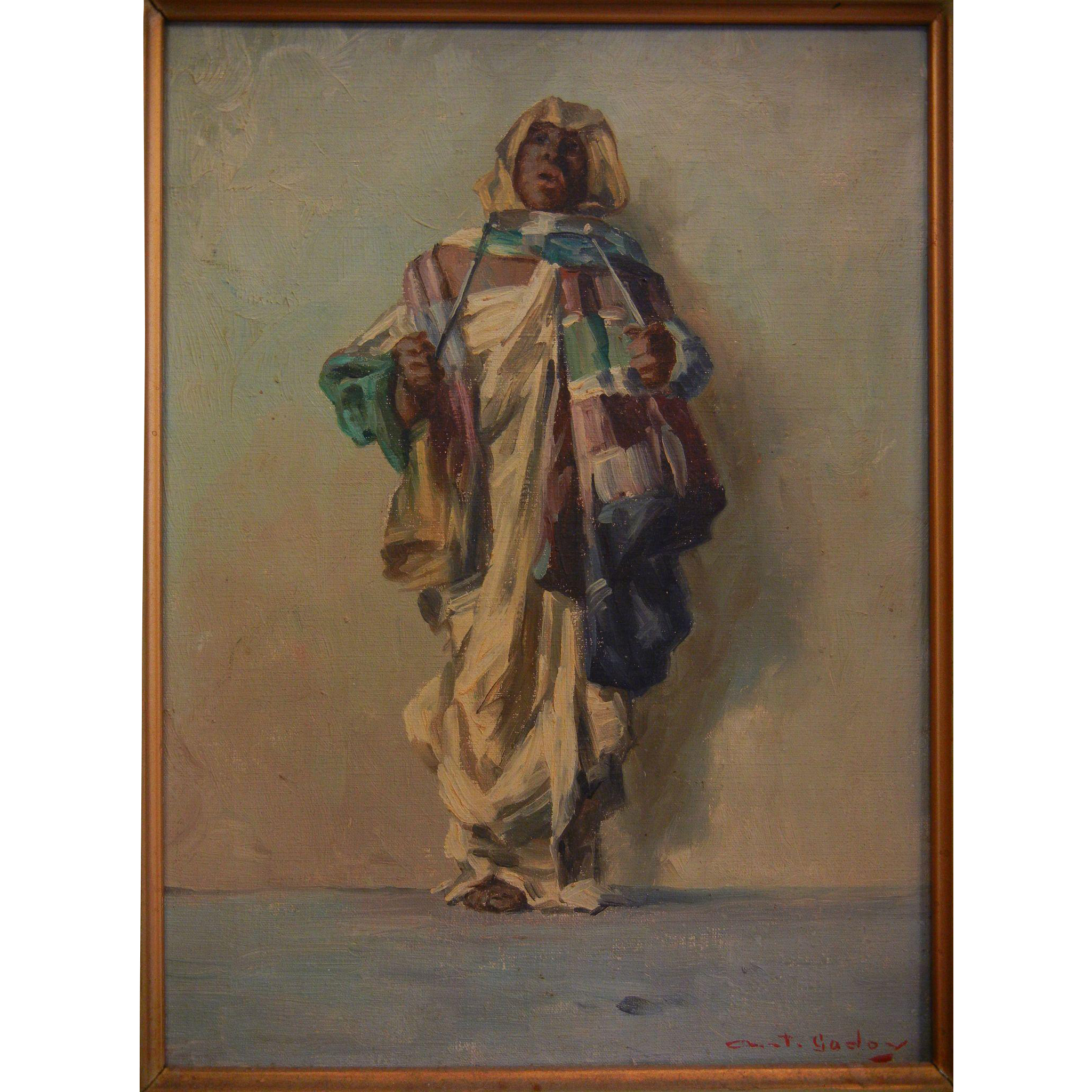 Antique Painting With Arab Man in Tribal Clothing