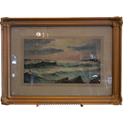 Framed Antique NW Coast Print of the Ocean Waves
