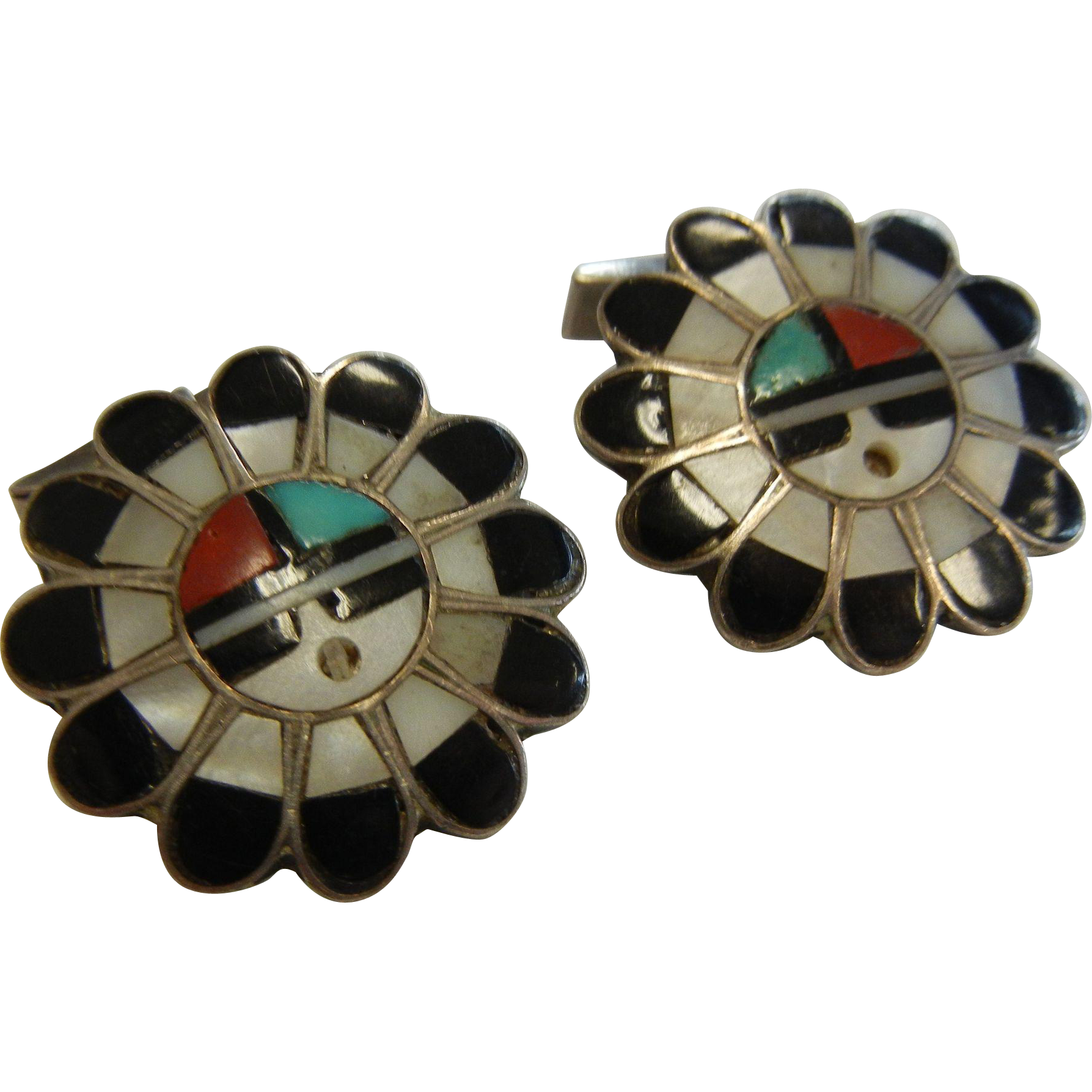 Vintage Sterling Silver & Natural Stone Inlay Zuni Sun God Face Cuff Links