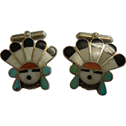 Vintage Zuni Sun God Natural Stone Inlay Sterling Silver Cuff Links