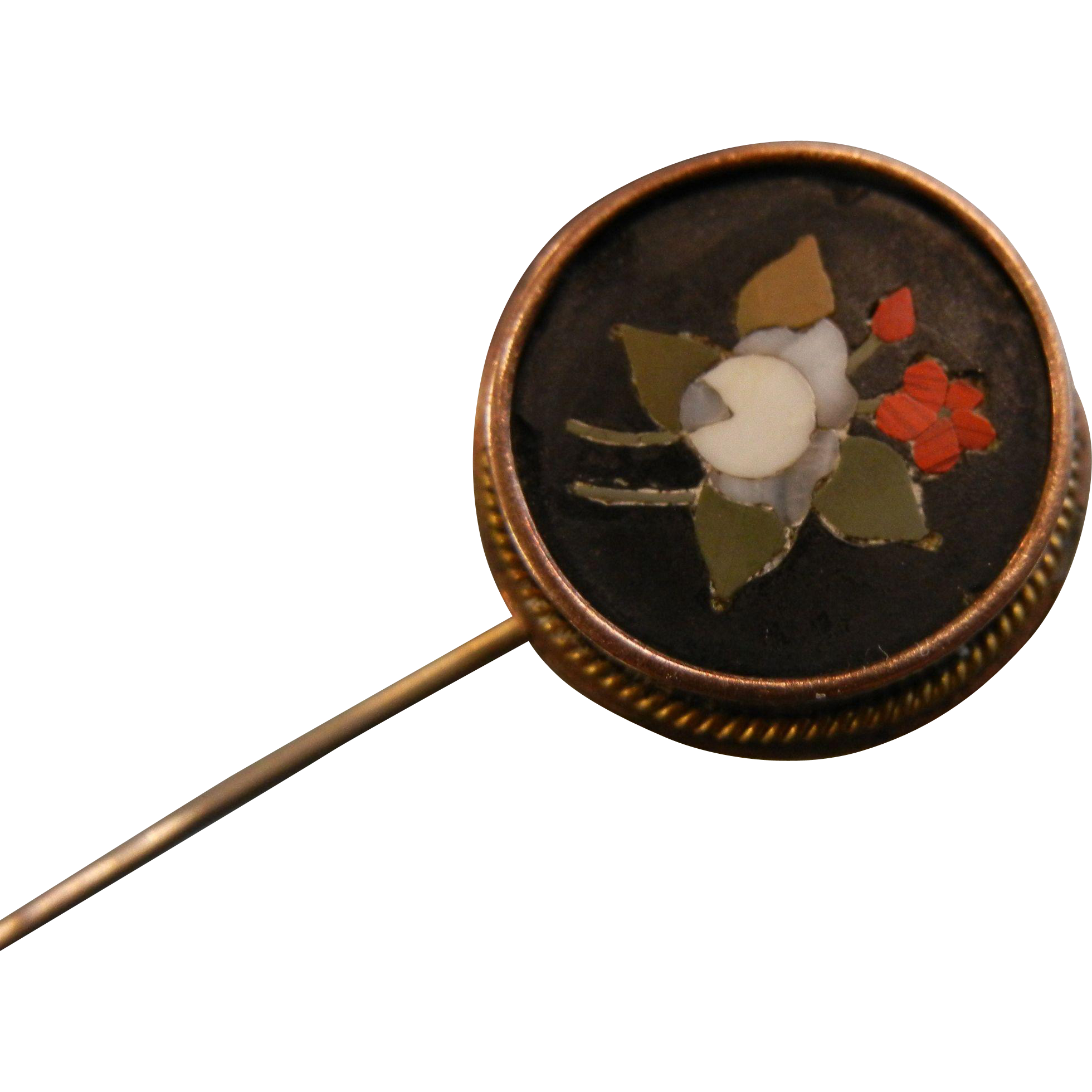 Vintage Black Floral Round Italian Mosaic Stick Pin