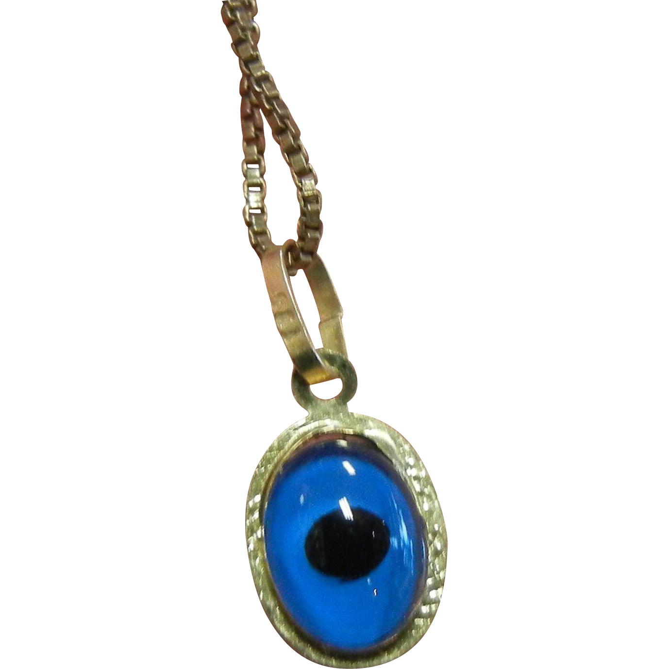 minature blue evil eye gold pendant necklace from