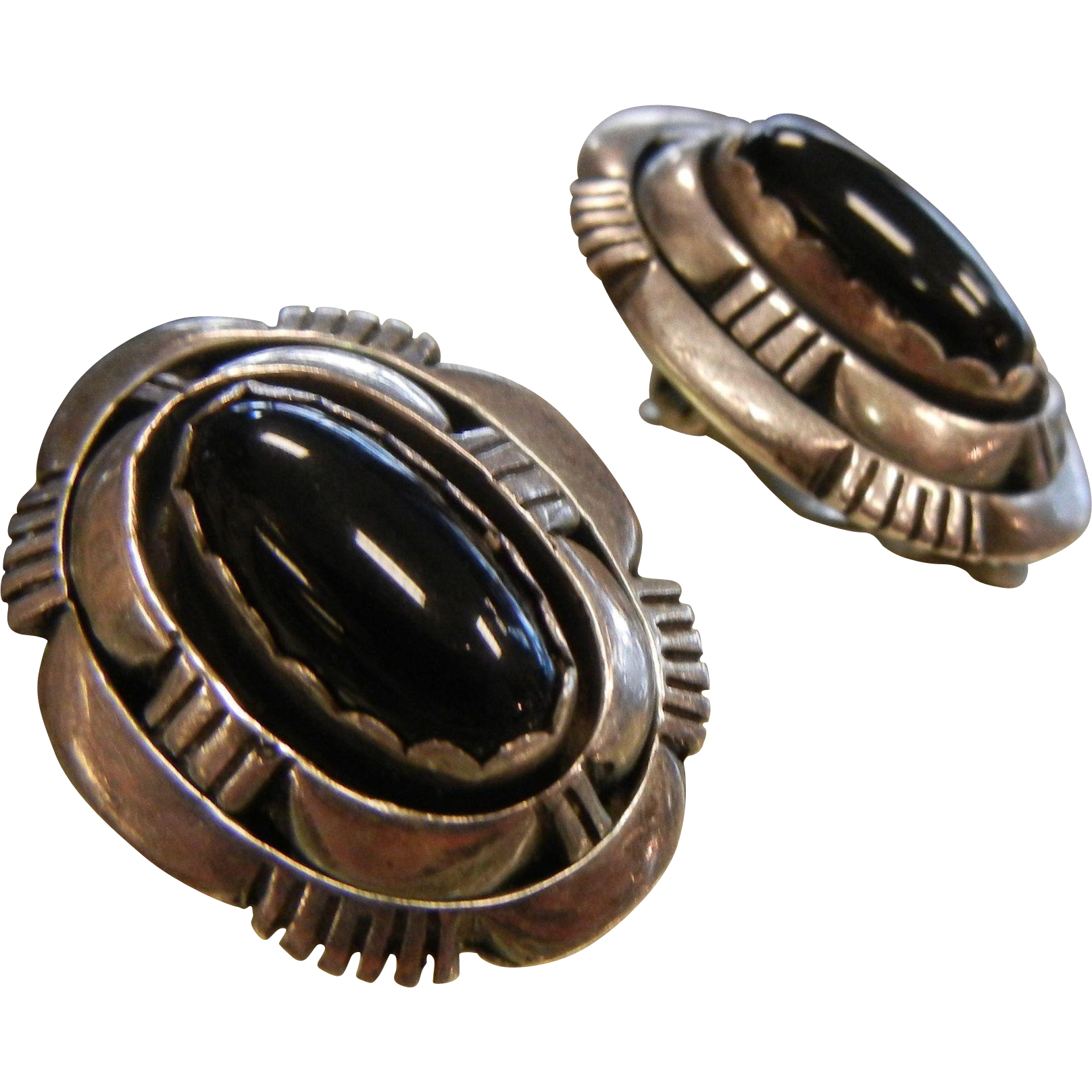 Vintage Native American Navajo L.M. Nez Signed Sterling Silver Clip Earrings w/ Natural Black Onyx