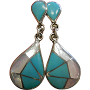 Fine Sterling Silver Mother of Pearl & Turquoise Drop Earrings