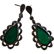 Fine Vintage Sterling Silver Earrings w/ Marcasite & Green Agate