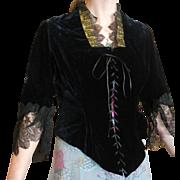 Fabulous Victorian Black Velvet & Lace Corset Tunic Jacket