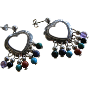 Signed Sterling Silver Heart Earrings w/ Natural Stones