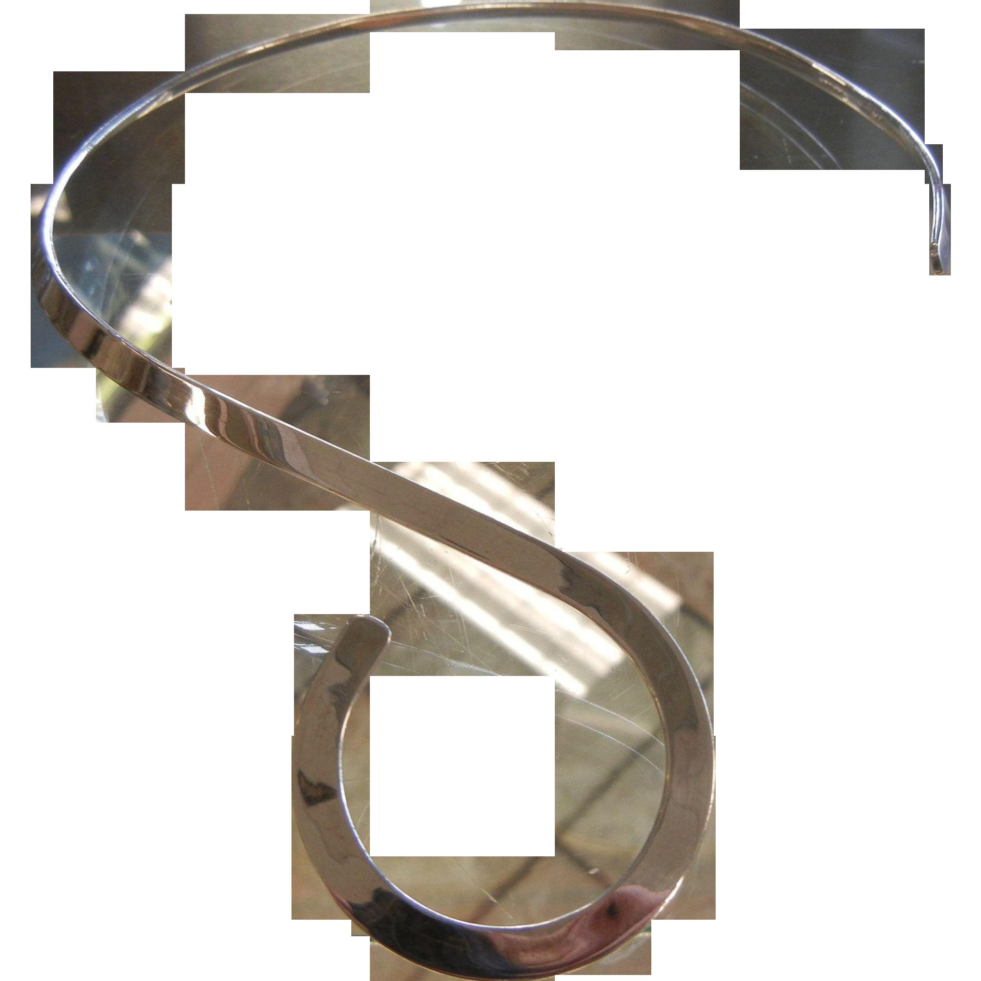 Fine Vintage Mexican Sterling Silver Neck Ring w/ Spiral Design