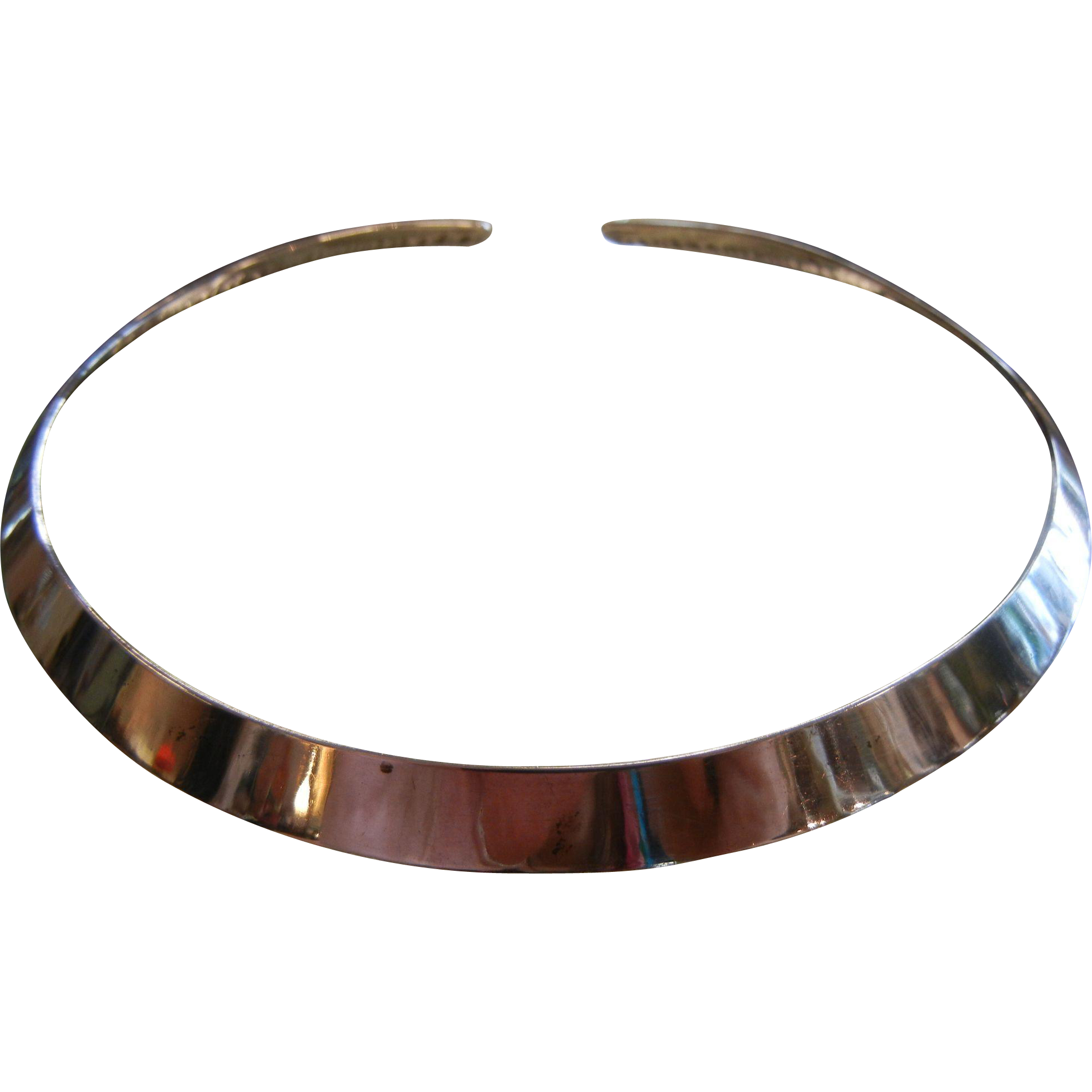 Fine Signed Ed Levin Sterling Silver Modernist Neck Ring Necklace