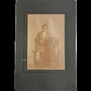 Rare Vintage Original Cabinet Photograph of African American Boy & Dog