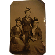 19th Century Tin Type Photograph of Three Young Ladies