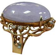 Vintage Estate 14K Gold Cocktail Ring w/ Lavender Jade Cabochon & Diamonds