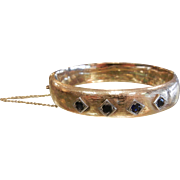 Antique Hallmarked Zell Bros Gold Bangle Bracelet w/ Natural Sapphires