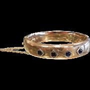 Antique Hallmarked Zell Bros Gold Bangle Bracelet w/ Natural Sapphires
