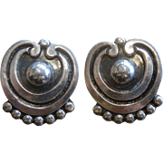 Vintage Modernist Pat Areias Sterling Silver Clip Earrings
