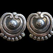 Vintage Modernist Pat Areias Sterling Silver Clip Earrings