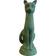 "Large 15"" Van Briggle Signed Pottery Large Matte Blue Feline Cat Figure"