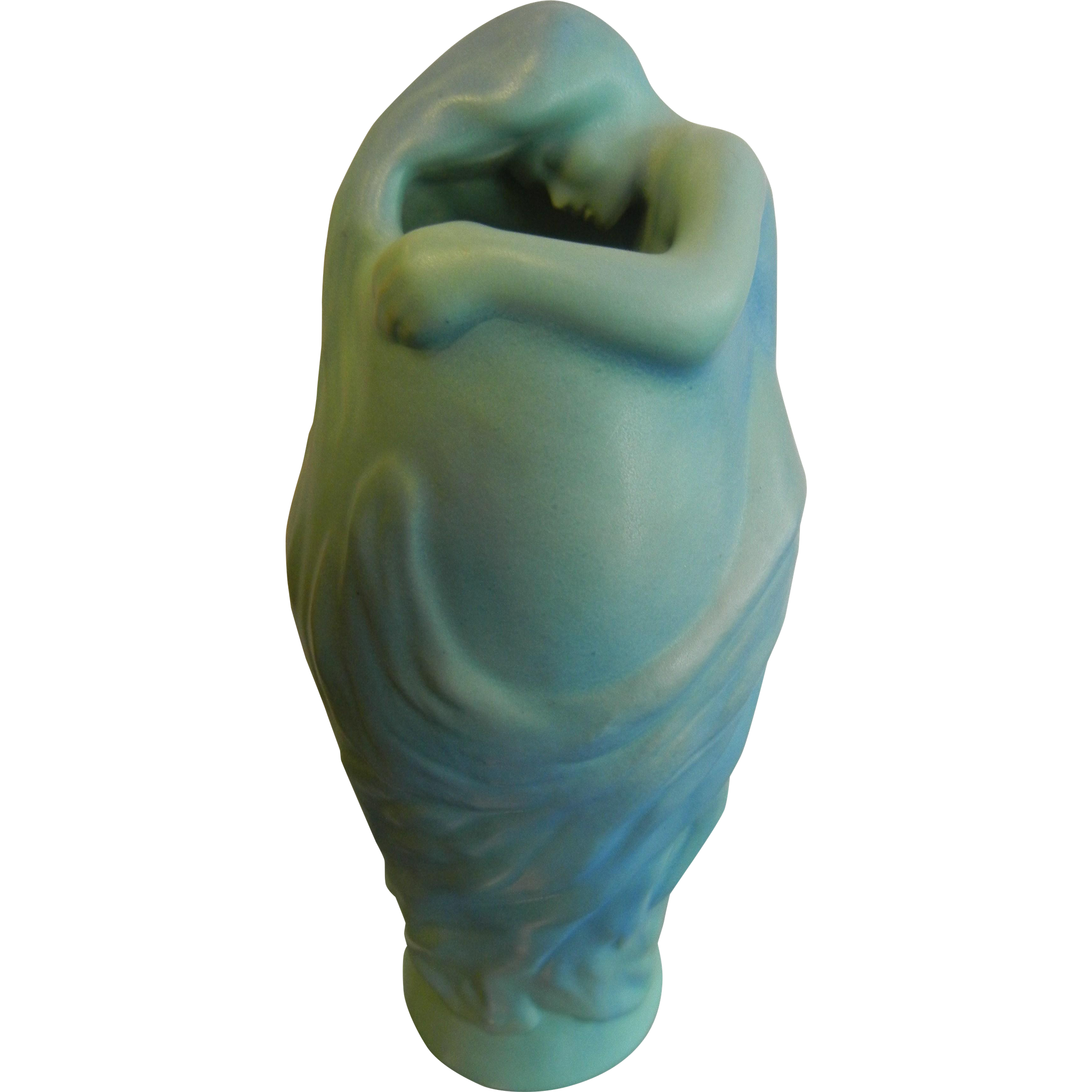 Van Briggle Signed Pottery Blue Siren Vase