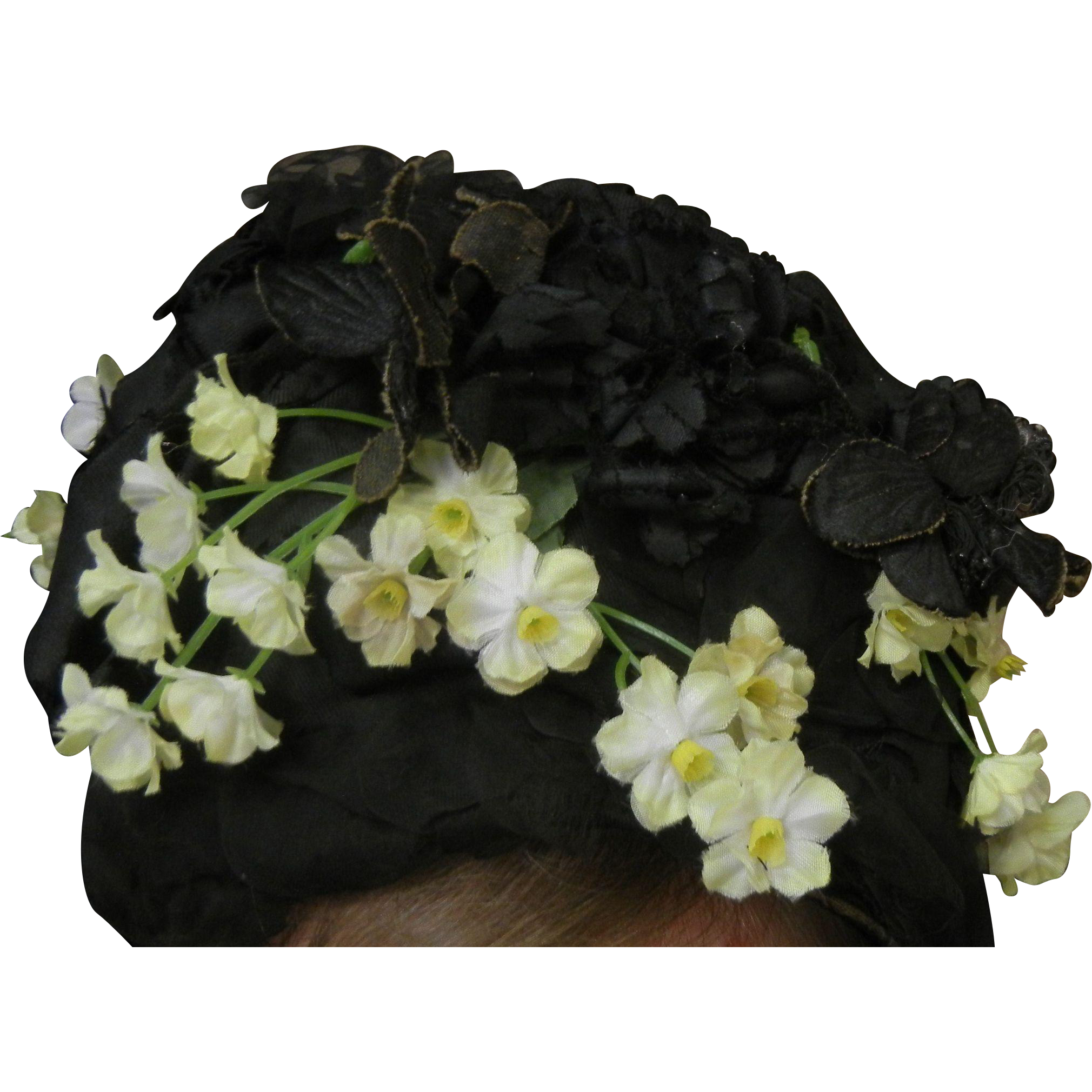 Vintage Puritan Bonnet Hat w/ Faux Flowers