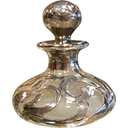 Classic Art Nouveau Sterling Silver Overlay Perfume Bottle