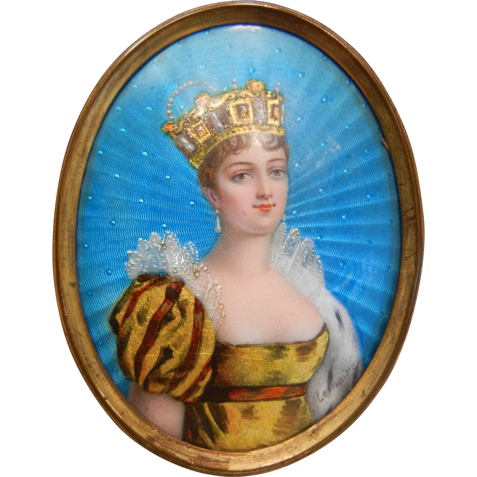 Superb One of a Kind Antique Miniature Enamel Painting Peacock Blue Queen & Jewels