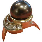 Vintage 14K Gold Ring w/ Large Black Tahitian Pearl & Diamonds