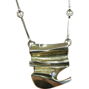 Vintage LAPPONIA Signed Modernist Sterling Silver Pendant Necklace
