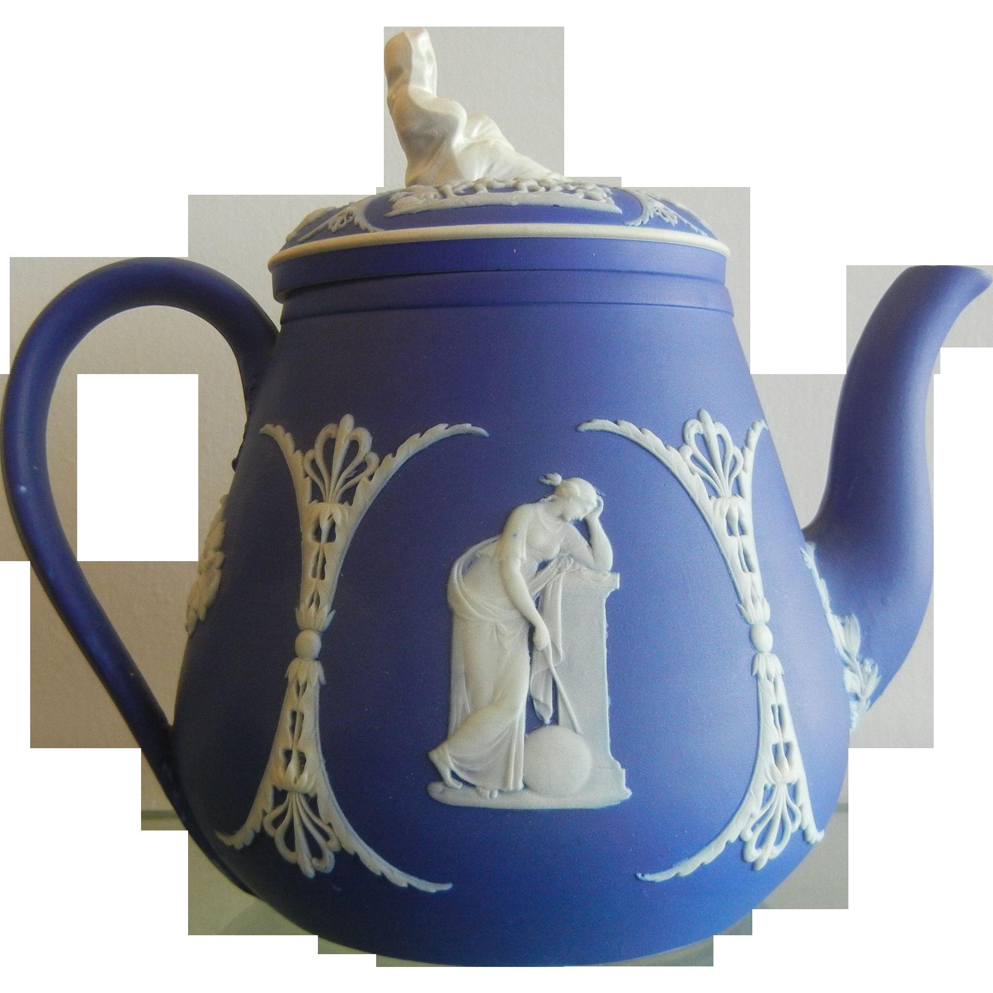 "Wedgwood "" Tofts Patent"" Jasper Blue & White Porcelain Teapot"