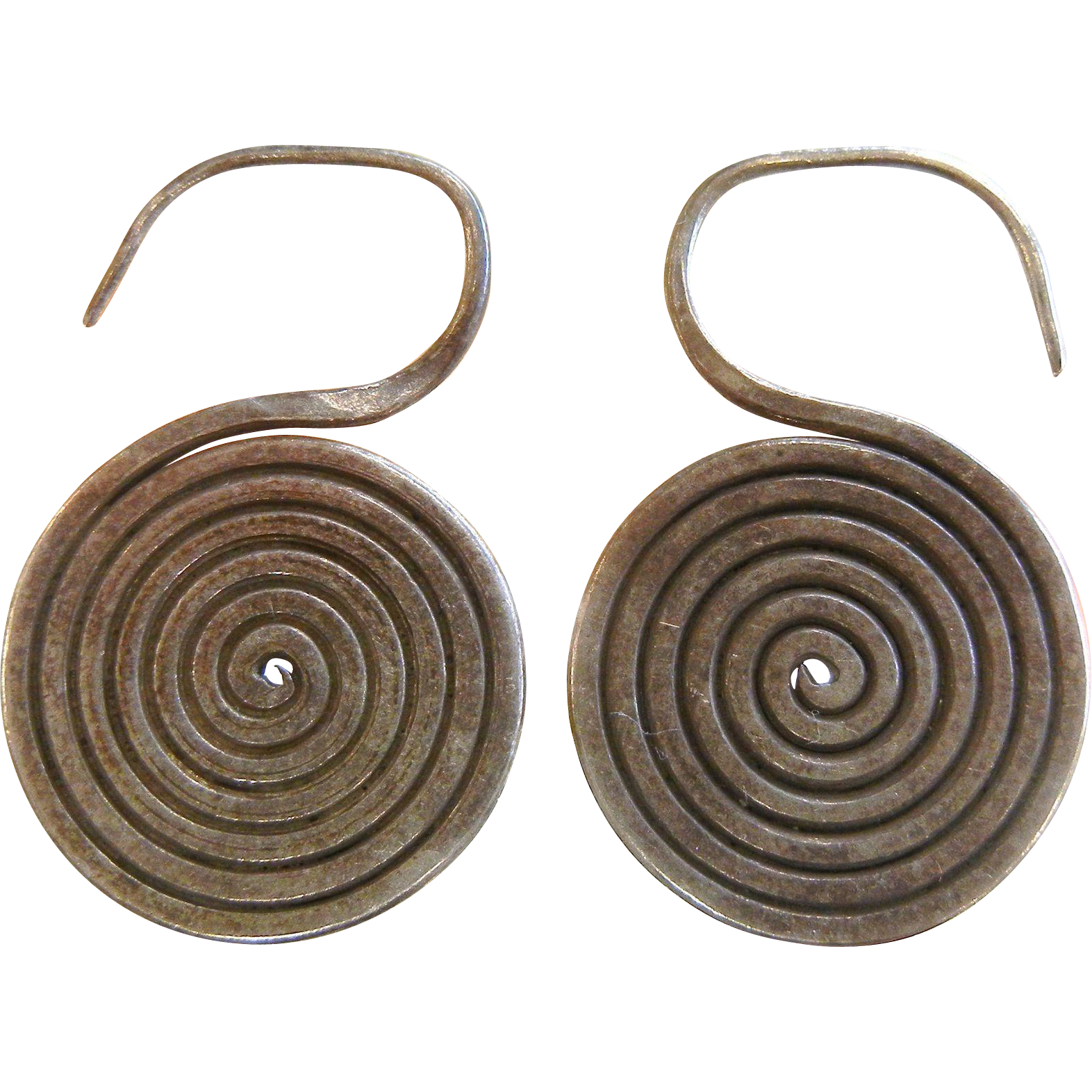 Old Unique Silver Tribal Spiral Hook Earrings