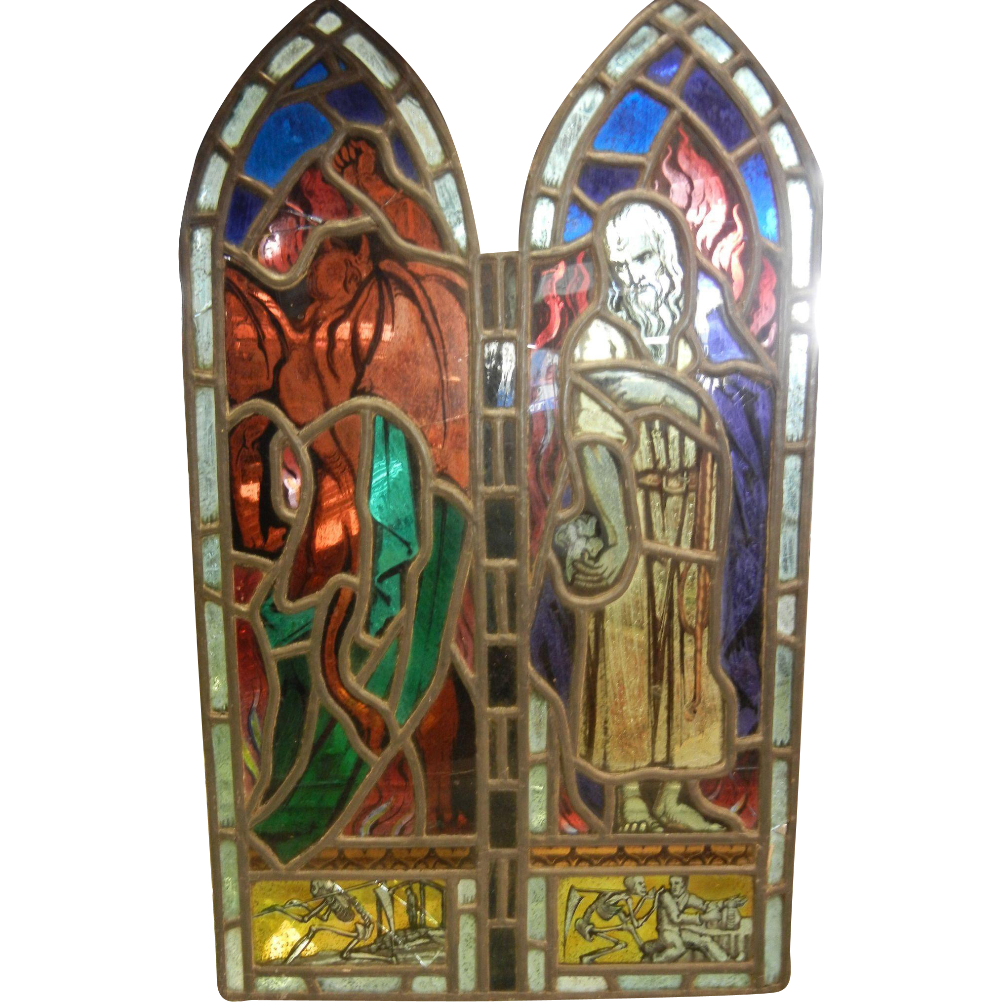 Antique Stained Glass Window Panel Judas Selling to the Devil