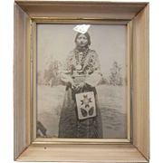 Very Old Framed B&W Photograph - Agnes Cayuse Nespelem Washington 1905