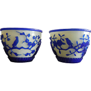 Vintage Set of Two Chinese Carved White & Blue Peking Glass Bowls