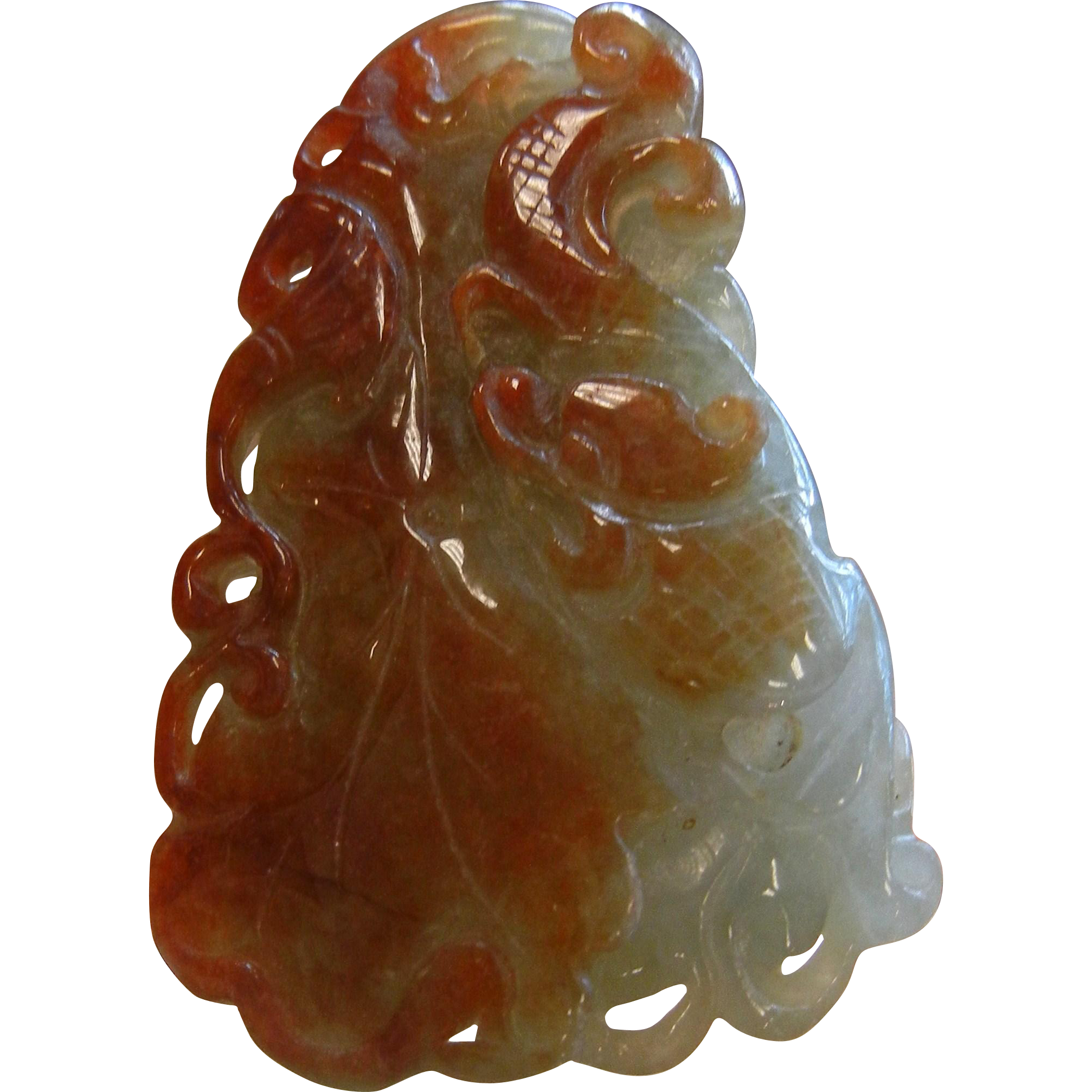 Carved Natural Jade Brown & Green Pendant Amulet