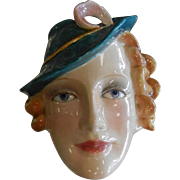 Vintage Goebel Art Deco Woman's Face Glazed Ceramic Wall Pocket