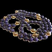 Fabulous Purple Charoite & Gold-Tone Bead Necklace