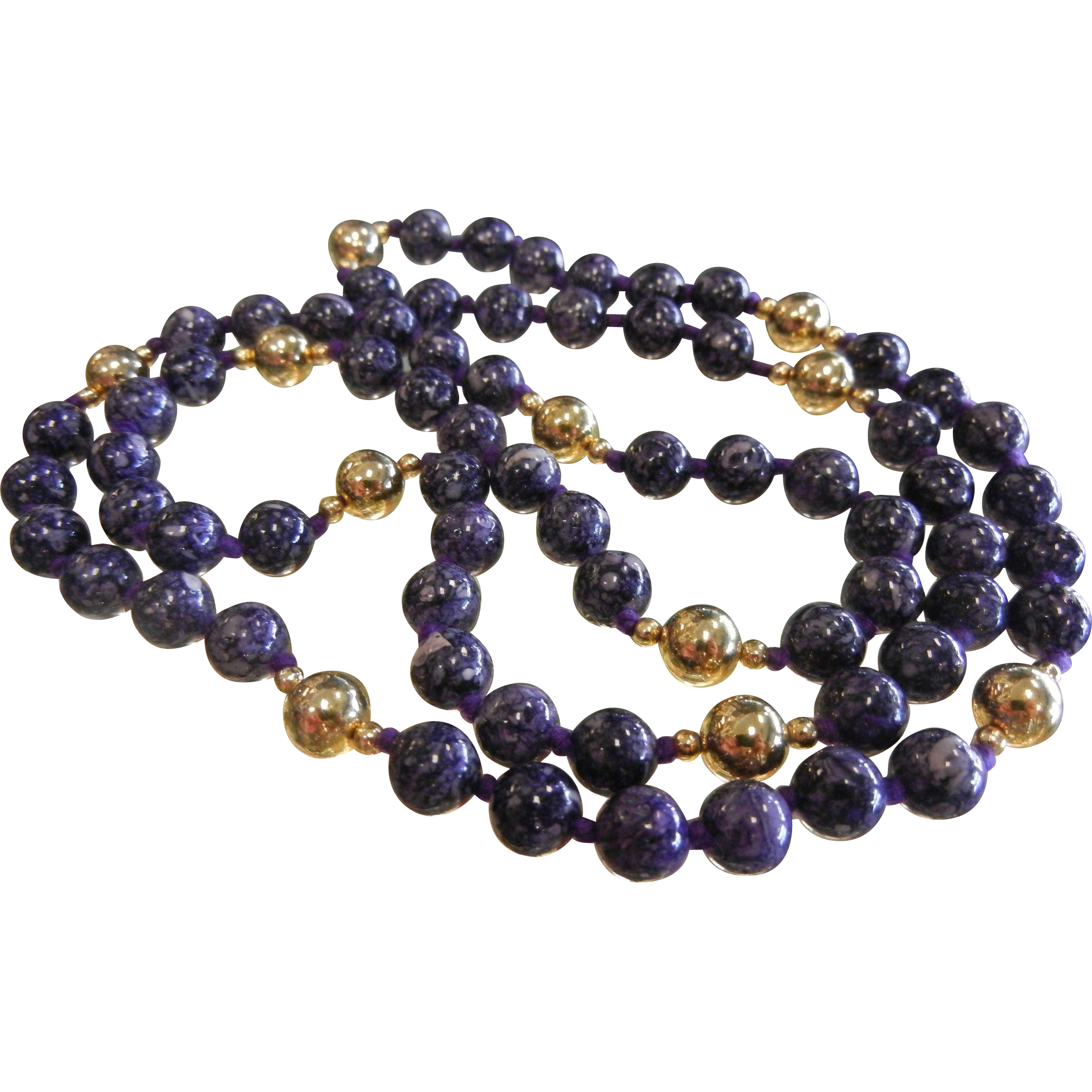 Fabulous Purple Charoite & Gold-Tone Bead Necklace