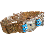 Fabulous 14 K Yellow Gold Vintage Retro Bracelet  Watch w/ Natural Turquoise Forget Me Not Flowers Diamond Center